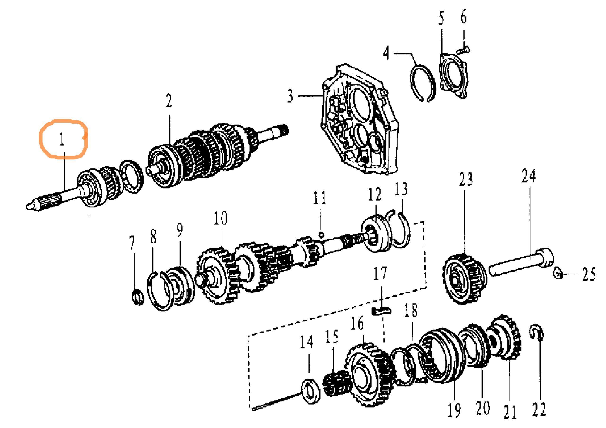Вал КПП первинний2,4i 4WD ZX LandMark / вал КПП первичный-0