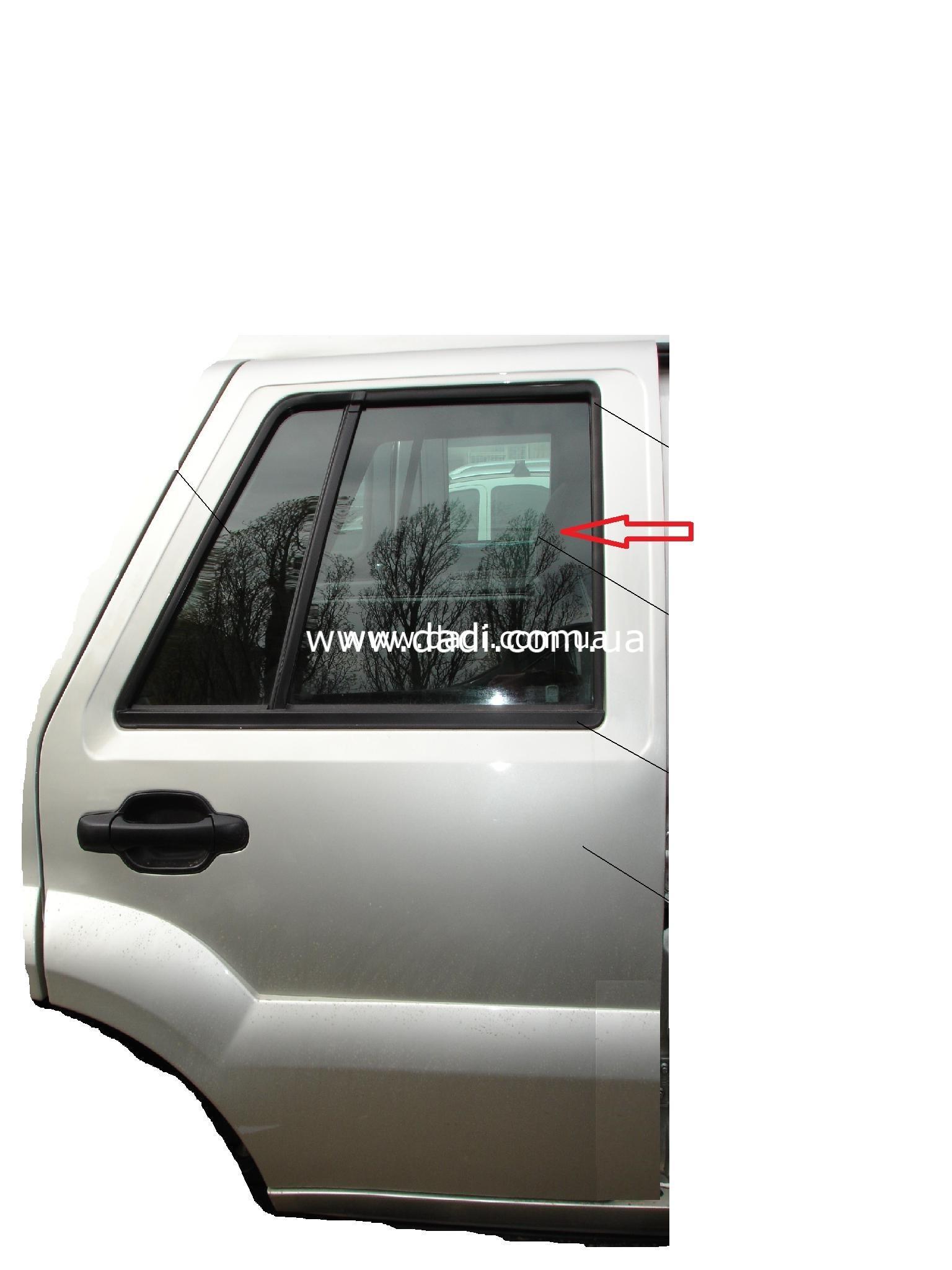 Скло задніх правих дверей DADI Shuttle/ стекло задней правой двери-0
